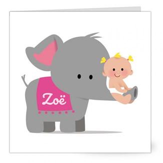 Geboortekaartje Meisje op olifant