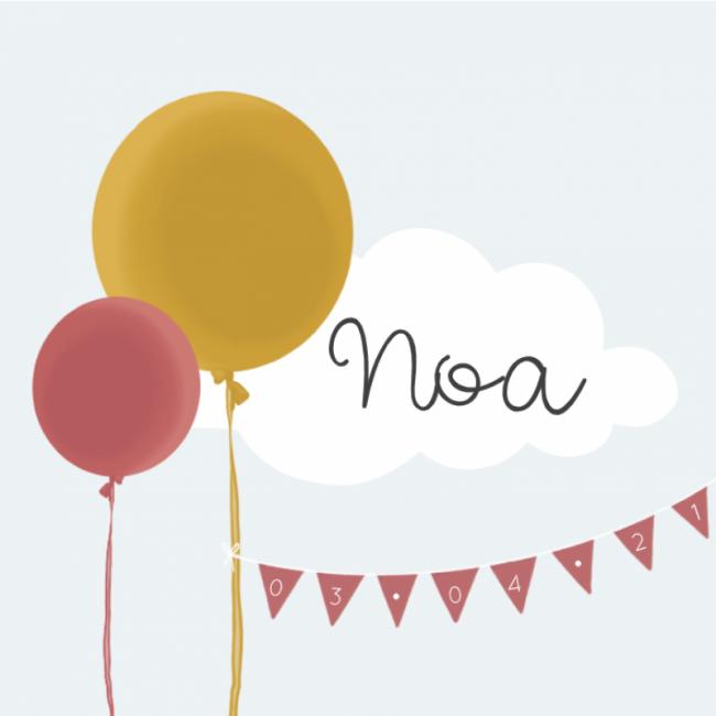 Geboortekaartje meisje slingers ballonnen