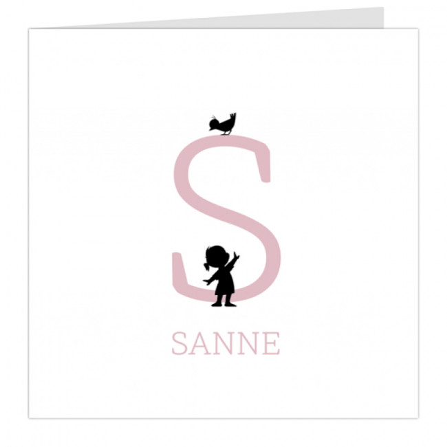 Geboortekaartje Meisje voor letter