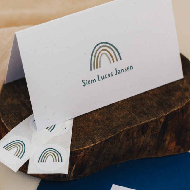 Geboortekaartje Minikaartje met regenboog