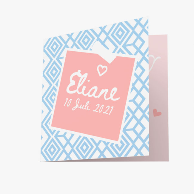 Geboortekaartje Modern kaartje met print