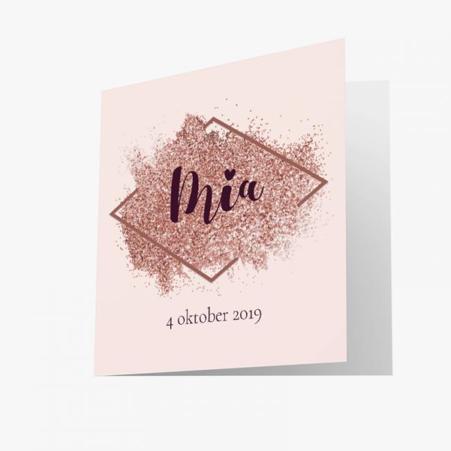 Geboortekaartje Moderne kaart met glitter
