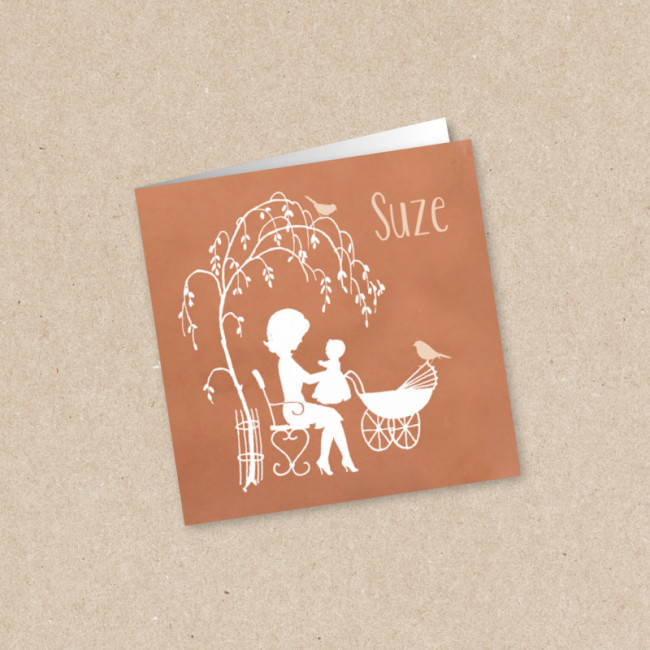 Geboortekaartje Moeder met kinderwagen