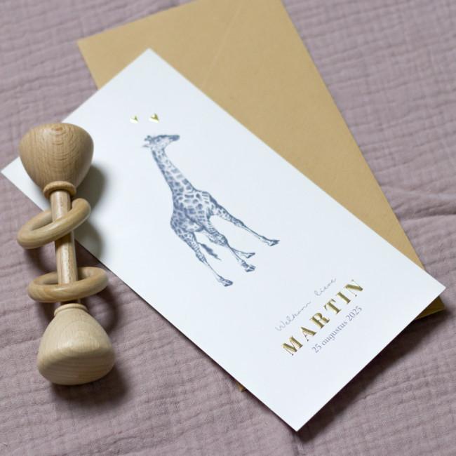 Geboortekaartje Monochrome giraf