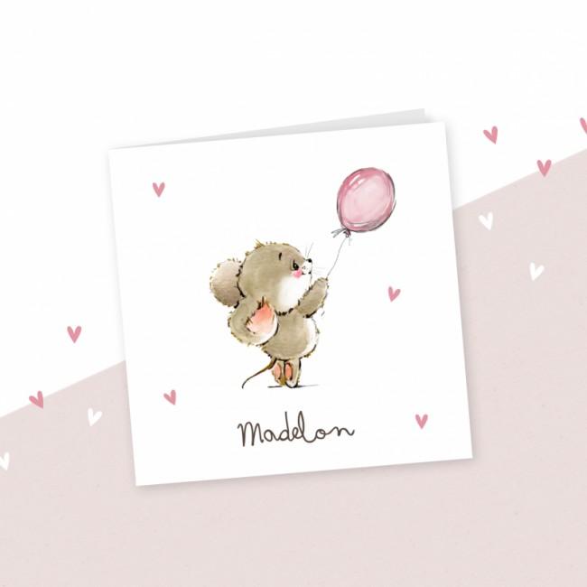 Geboortekaartje Muisje met roze ballon