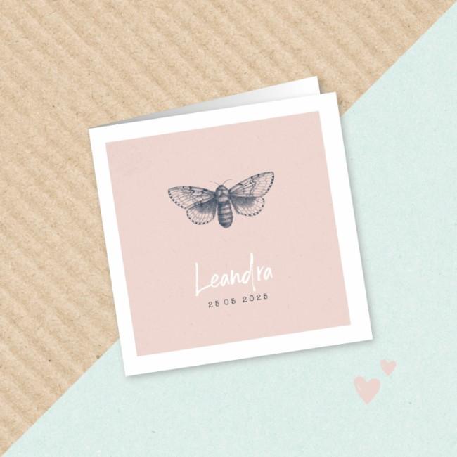 Geboortekaartje Roze met nachtvlinder