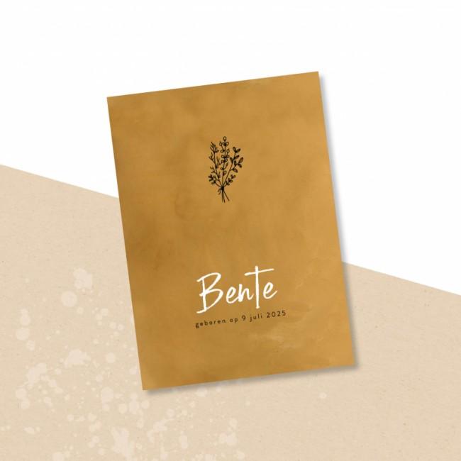 Geboortekaartje Okergeel botanische bloem