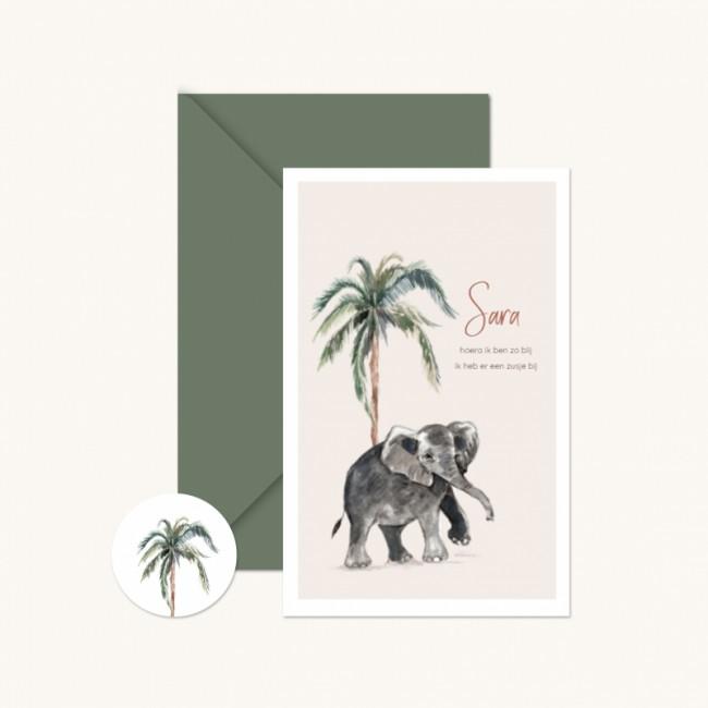 Geboortekaartje Olifant meisje palmboom