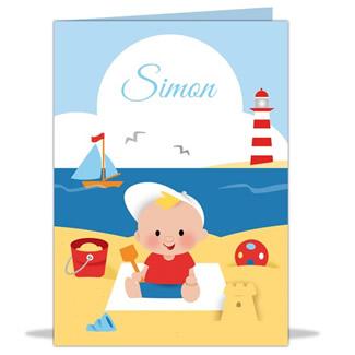Geboortekaartje Op het strand
