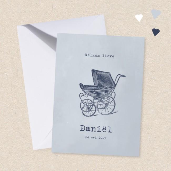Geboortekaartje Ouderwetse kinderwagen