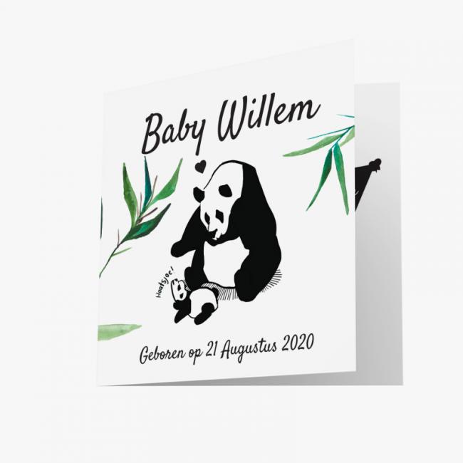 Geboortekaartje Pandabeer kaart unisex