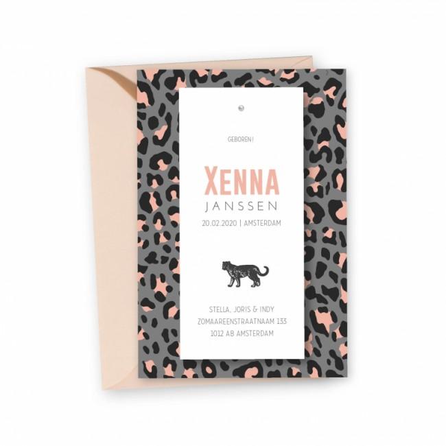 Geboortekaartje Panterprint Xenna