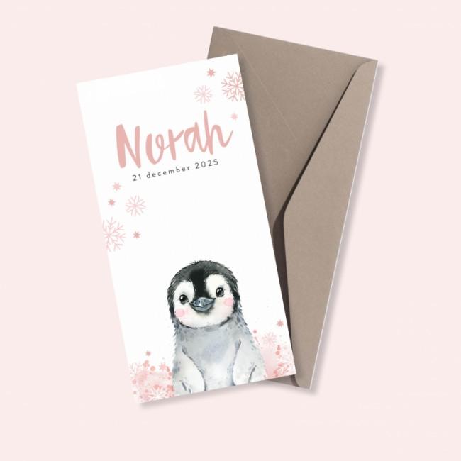 Geboortekaartje Pinguïn en sneeuwvlokken