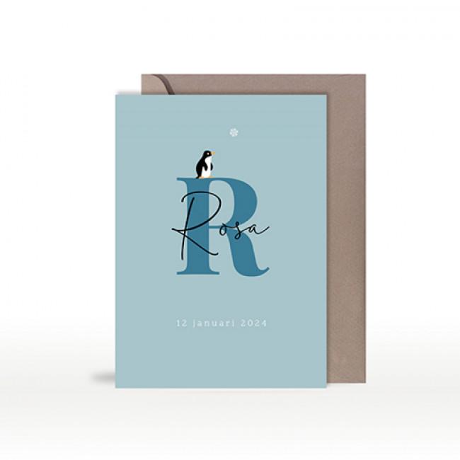 Geboortekaartje pinguïn typografie