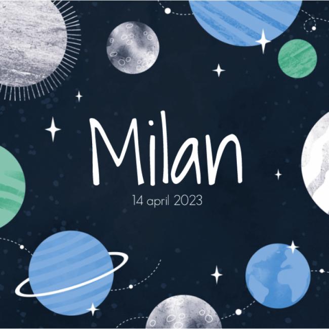Geboortekaartje Planeten kaartje