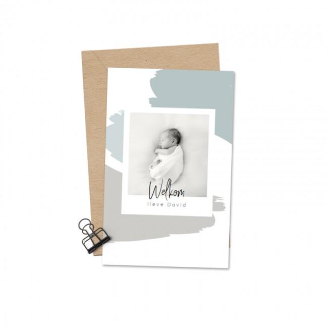 Geboortekaartje Polaroid blauwe brush