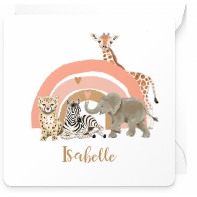 Geboortekaartje Regenboog en jungle dieren