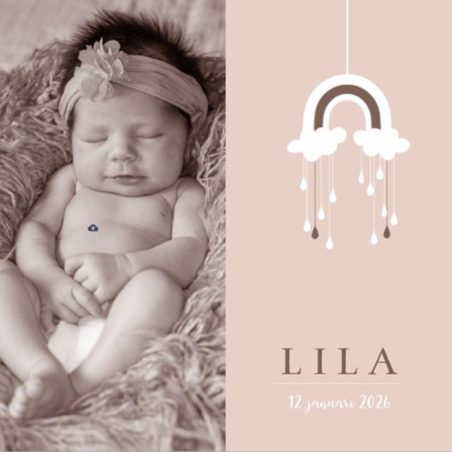 Geboortekaartje Regenboog mobile meisje