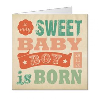 Geboortekaartje Retro typografie jongen