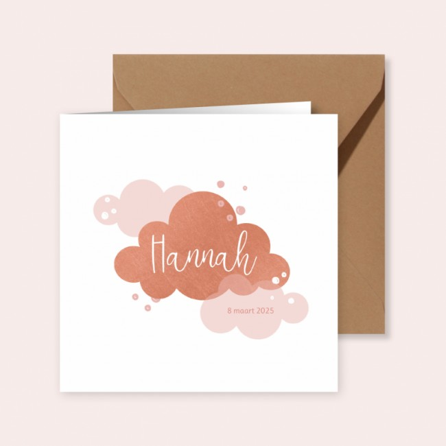 Geboortekaartje Rosé wolkje met stippen