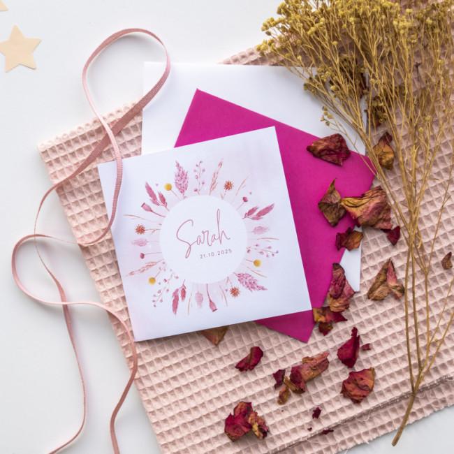 Geboortekaartje Roze droogbloemen