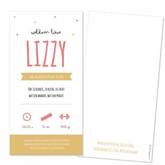 Geboortekaartje Roze en gele typografie