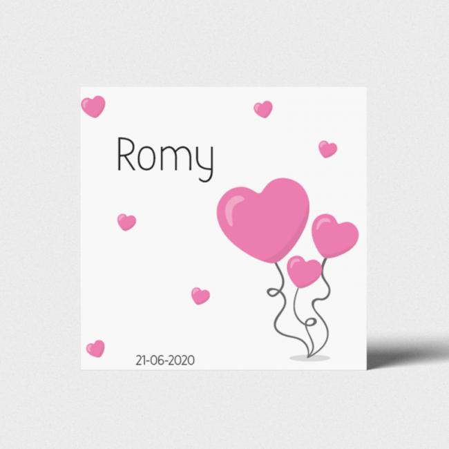 Geboortekaartje Roze hartjesballonnen