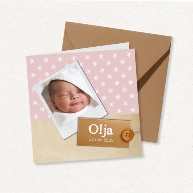 Geboortekaartje Roze met foto in kader