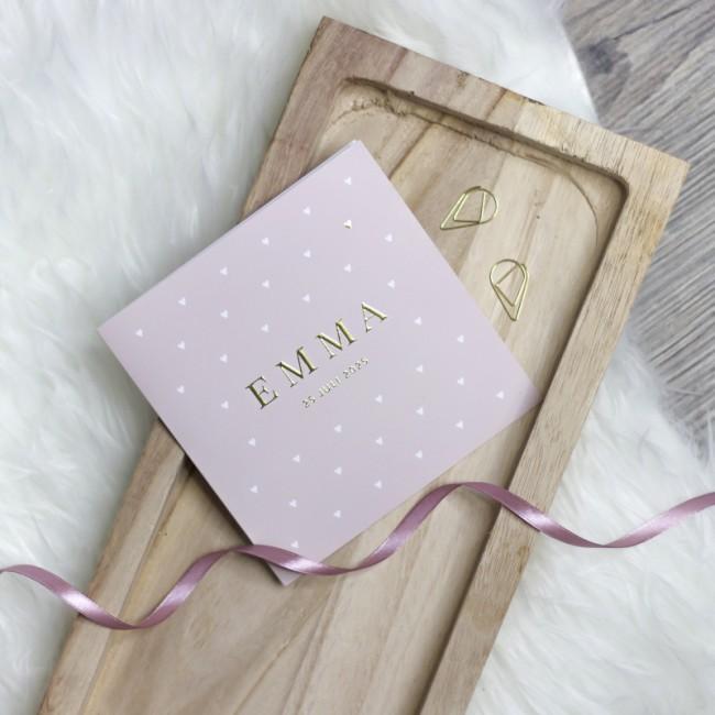 Geboortekaartje Roze met goudfolie