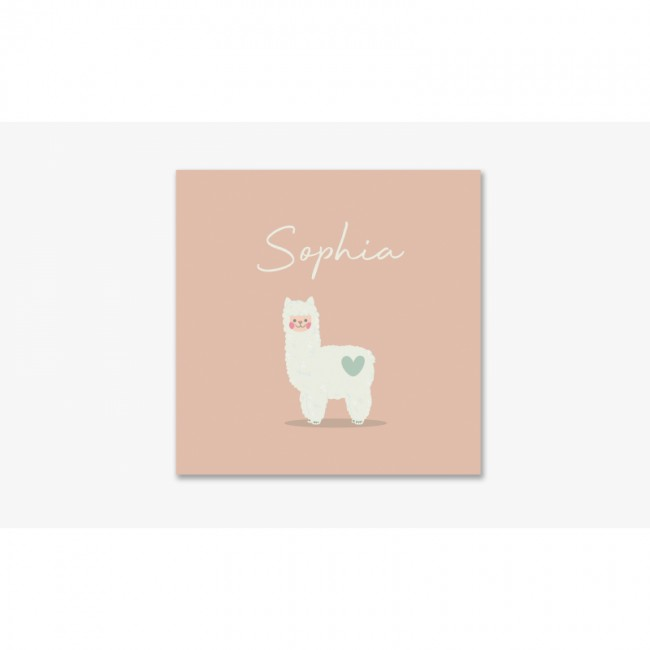 Geboortekaartje Roze kaart met lama