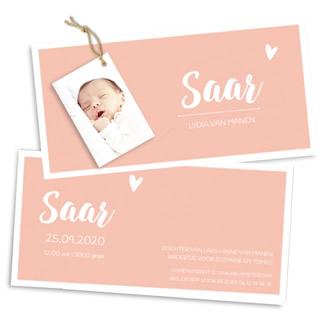 Geboortekaartje Roze met witte rand