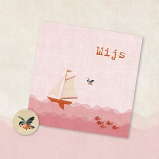 Geboortekaartje Roze met zeilbootje