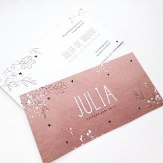 Geboortekaartje Roze metallic met spetters