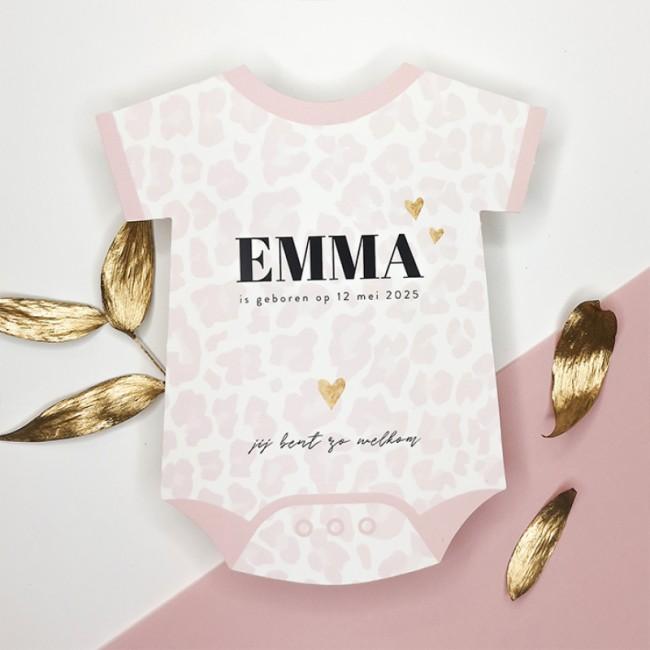 Geboortekaartje Roze panterprint romper