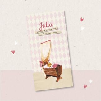 Geboortekaartje Roze ruitjes en wieg