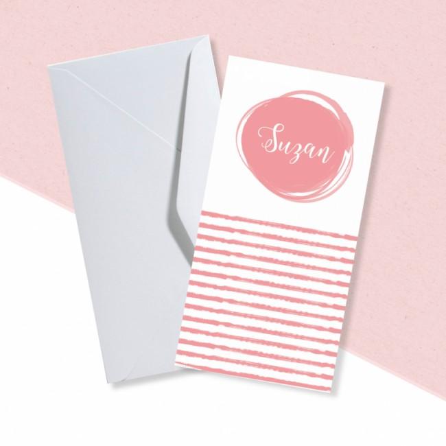 Geboortekaartje Roze streepjes en pijltjes