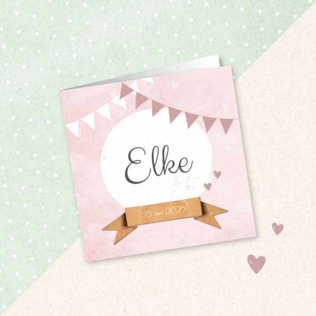 Geboortekaartje Roze vlaggetjes en banner