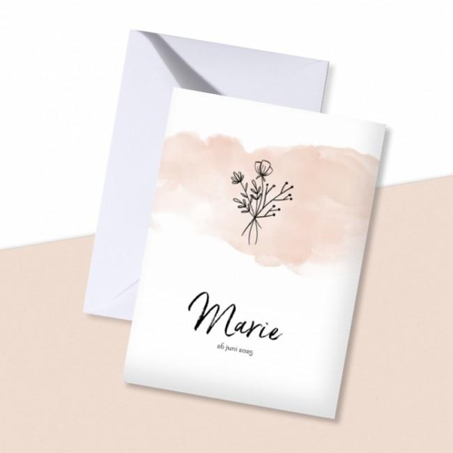 Geboortekaartje Roze waterverf met bloemen