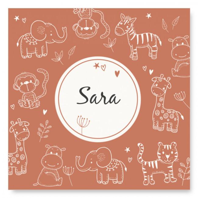 Geboortekaartje Safari dieren bruin
