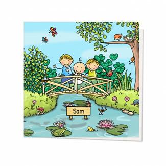 Geboortekaartje Samen op het bruggetje