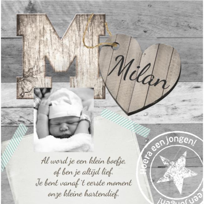 Geboortekaartje Scrapbook kaartje