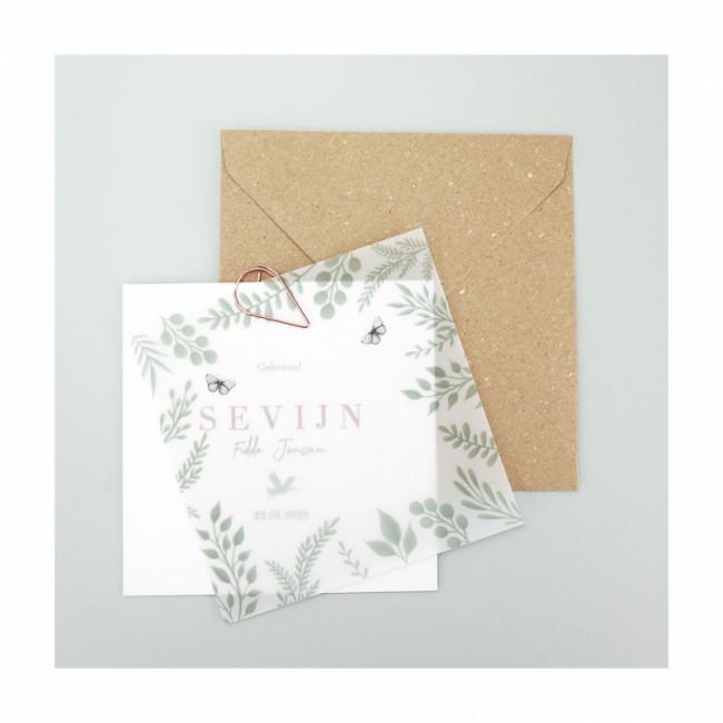 Geboortekaartje Semi-transparant papier