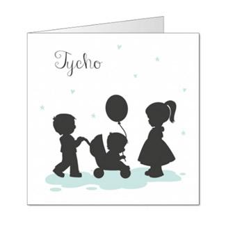 Geboortekaartje silhouet 3e kindje jongen