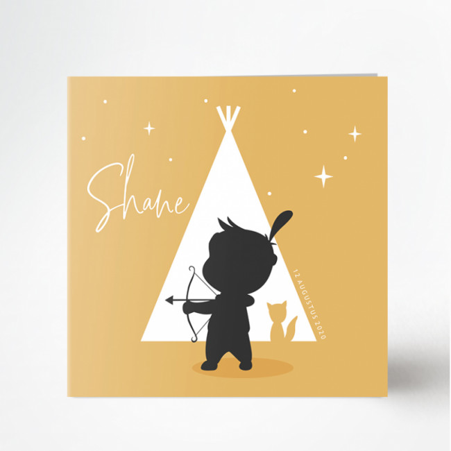 Geboortekaartje Silhouet indiaan retro