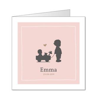 Geboortekaartje Silhouet jongetje met kar