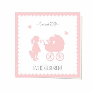 Geboortekaartje Silhouet kinderwagen