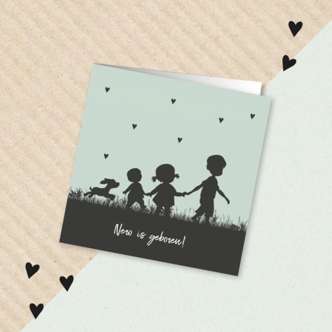 Geboortekaartje Silhouet meerdere kindjes