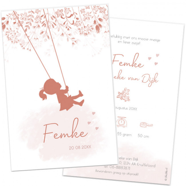 Geboortekaartje Silhouet meisje & bloemen