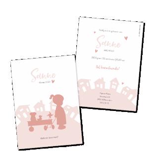 Geboortekaartje Silhouet meisje en huizen