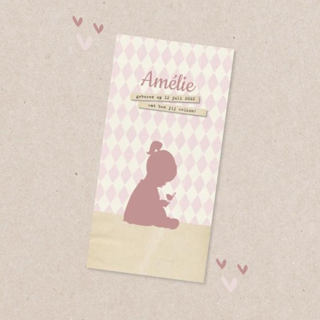 Geboortekaartje Silhouet meisje en ruitjes